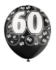 60th Birthday Black Glitz Latex Balloons 12 inch